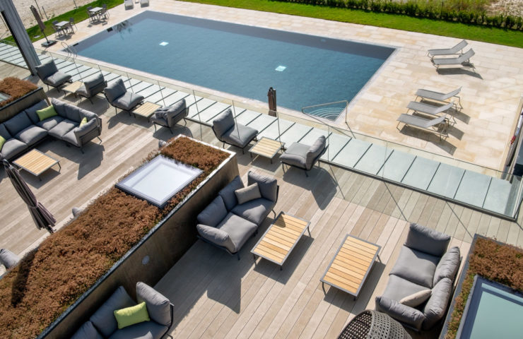 Roof terrace aerial photo looking at swimming pool