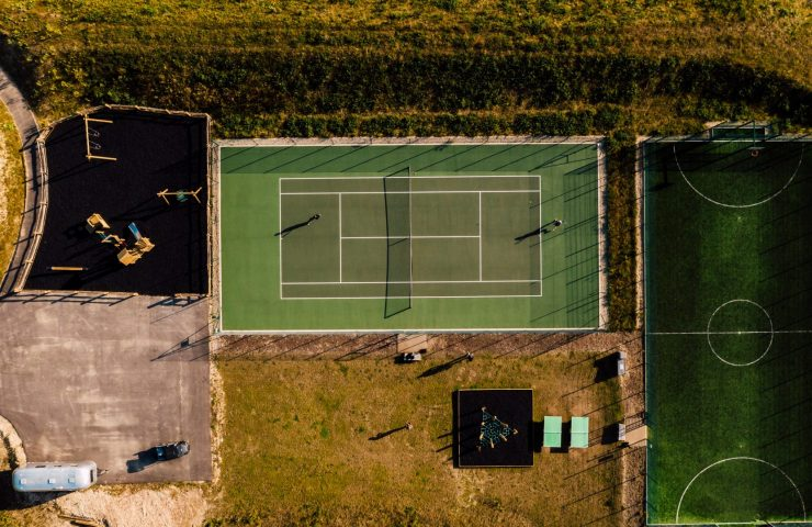 Aerial photo of tennis and artificial turf multi-use games area