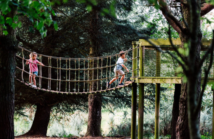 Children's climbing frame and slide with the trees at Silverlake